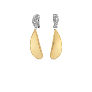 18Kt Gold Gourmette Drop Earrings With Diamonds