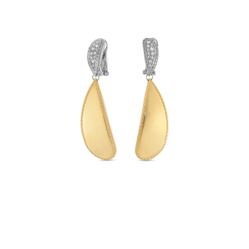 Roberto Coin 18Kt Gold Gourmette Drop Earrings With Diamonds