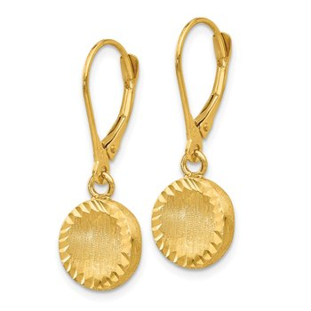 14k Brushed and Polished Diamond-cut Circle Leverback Earrings