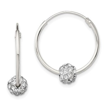 Sterling Silver Polished CZ Hoop Earrings
