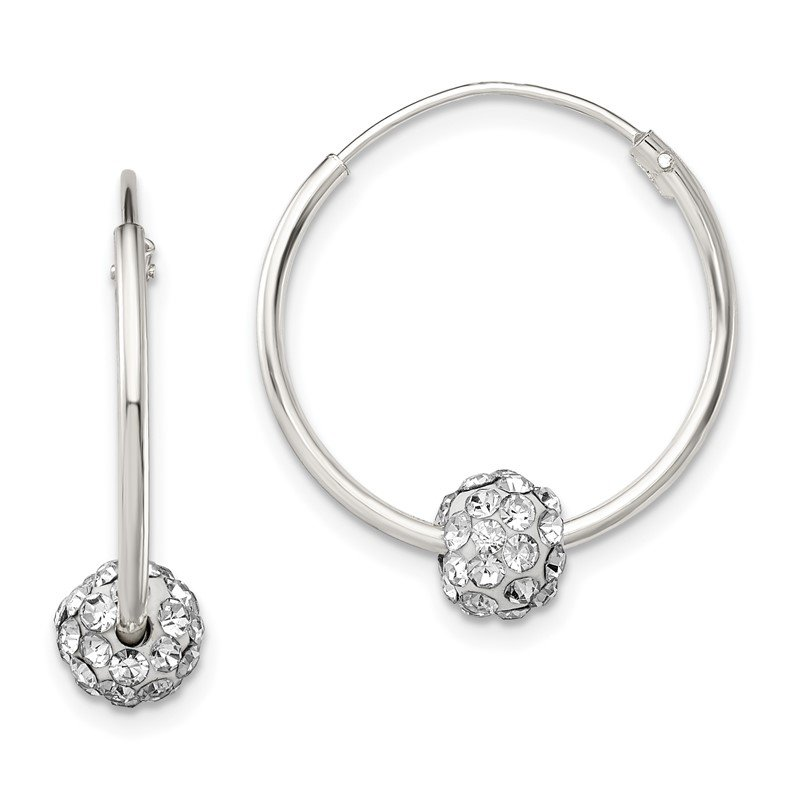 Quality Gold Sterling Silver Polished CZ Hoop Earrings
