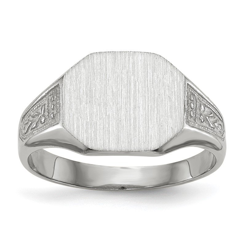Quality Gold 14k White Gold 9.0x11.0mm Closed Back Signet Ring