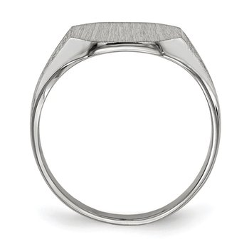 14k White Gold 9.0x11.0mm Closed Back Signet Ring