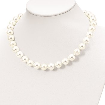 Sterling Silver Majestik Rh-pl 12-13mm Wht Imitation Shell Pearl Necklace