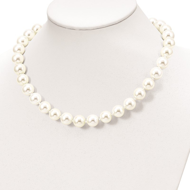 Quality Gold Sterling Silver Majestik Rh-pl 12-13mm Wht Imitation Shell Pearl Necklace