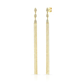 Yellow Gold Pear Shaped Dangling Tassel Earrings