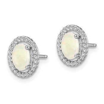 Sterling Silver Rhod-plat Milky Opal Oval Post Earrings