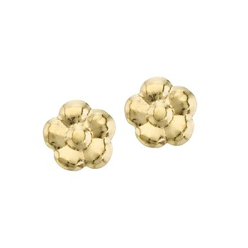 14K Yellow Gold Baby Flower Screwback Earrings