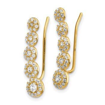 14k CZ Circles Polished Ear Climber Earrings