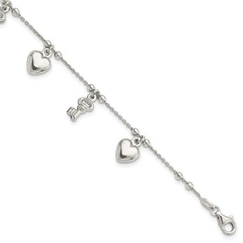 Sterling Silver Heart and Key Dangle Bracelet