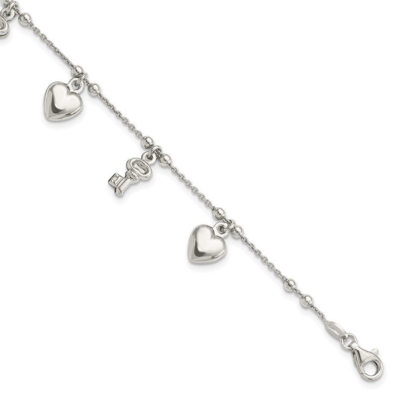 Quality Gold Sterling Silver Heart and Key Dangle Bracelet