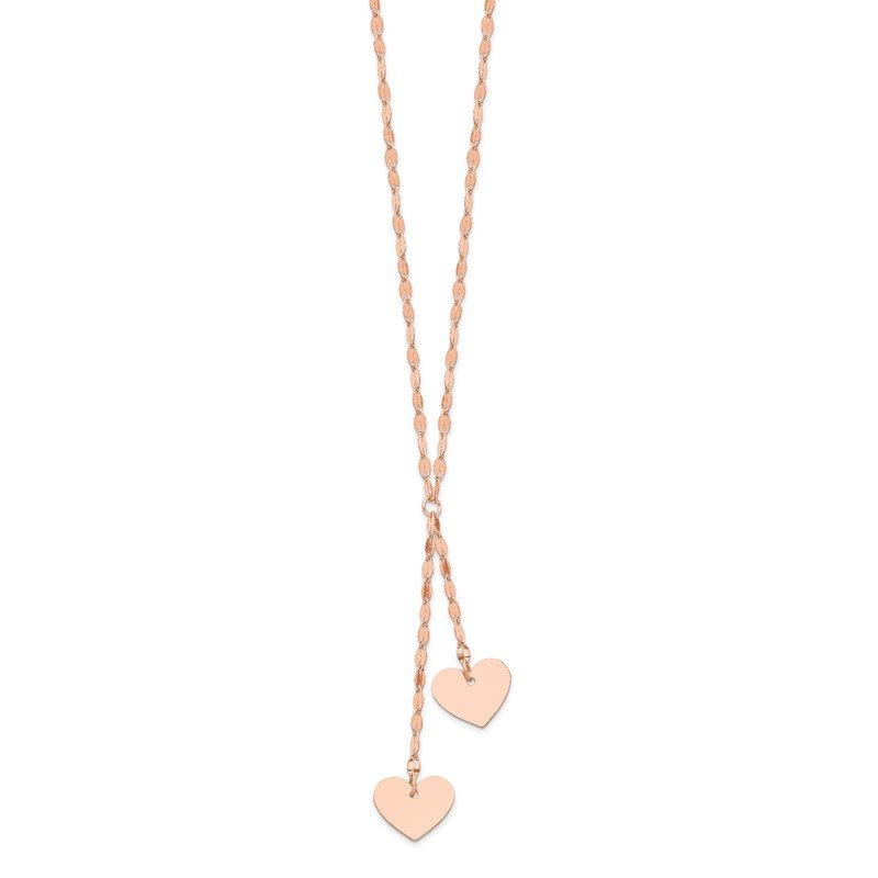 Quality Gold 14k Rose Gold Fancy 2 Hearts 17 inch with 1 inch ext. Necklace