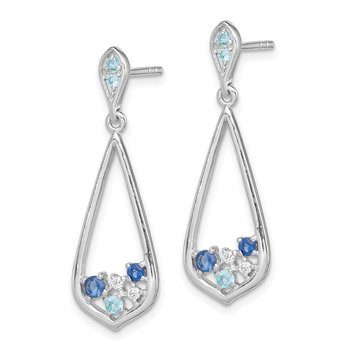 Sterling Silver Rhodium-plated Polished w/ CZ Post Dangle Earrings