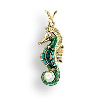 Green Seahorse Pendant.18K -Diamond and Akoya Pearl - Plique-a-Jour
