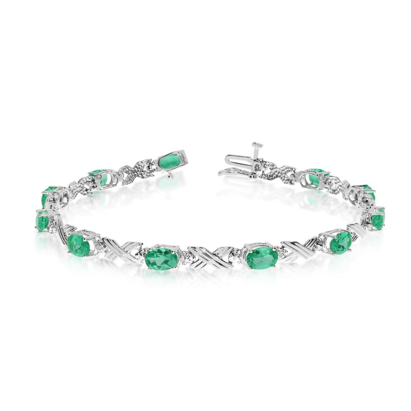10K White Gold Oval Emerald and Diamond Bracelet