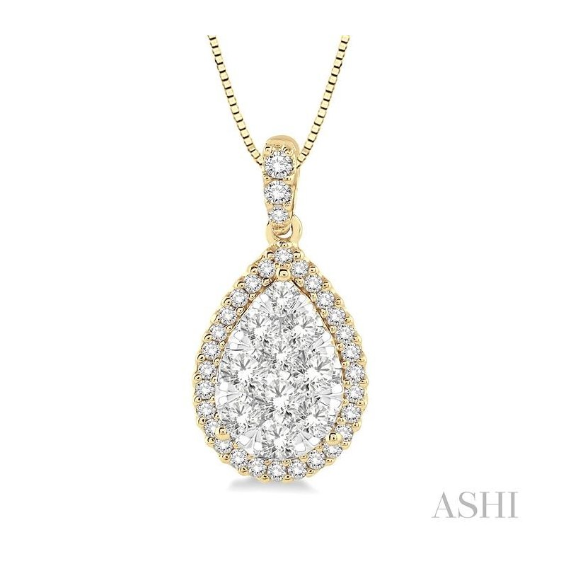 Gemstone Collection pear shape lovebright essential diamond pendant