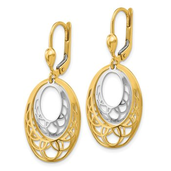 14K Two-Tone Polished Leverback Earrings