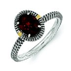 Sterling Silver w/14k Oval Garnet Ring
