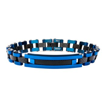 Solid Carbon Graphite and Blue Plated with Black Plated Mesh ID Link Bracelet