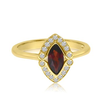 14K Yellow Gold Marquis Garnet and Diamond Ring