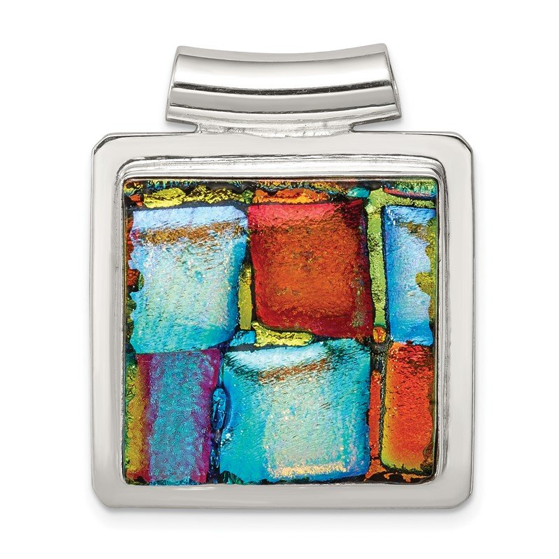 Quality Gold Sterling Silver Multicolor Dichroic Glass Square Pendant