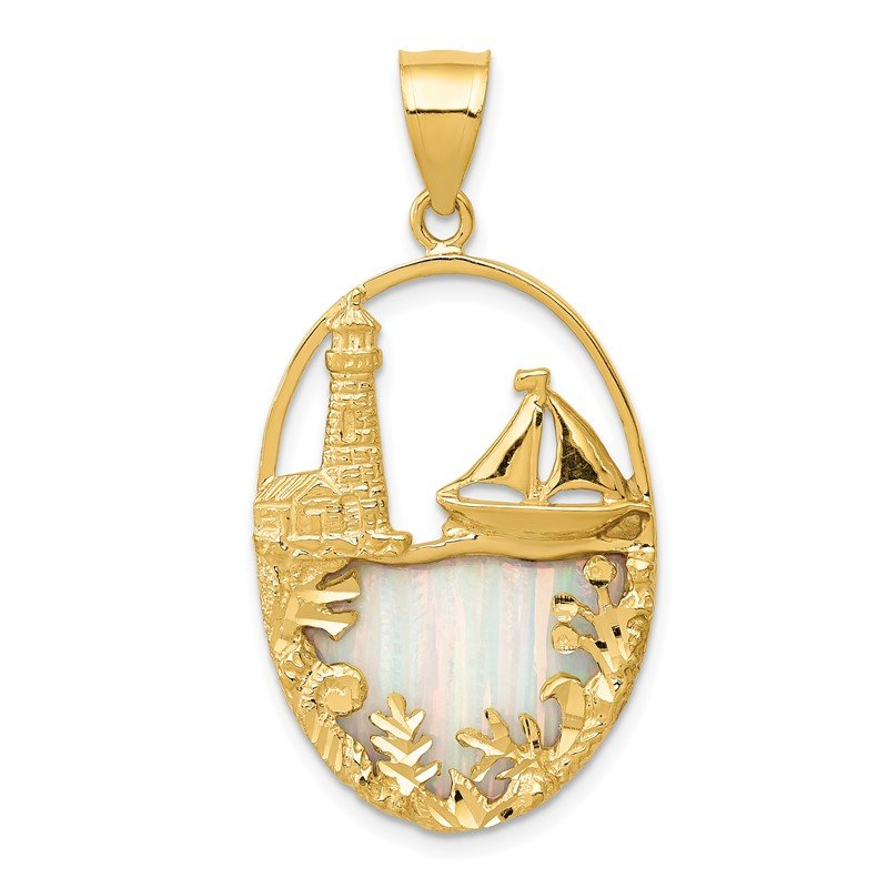 Quality Gold 14K Lab Created Opal Lighthouse Sailboat Pendant