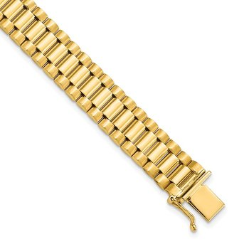 14K Men's Satin and Polished 8in Link Bracelet