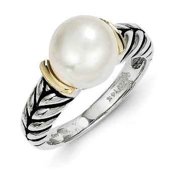 Sterling Silver w/14k 10mm Button FW Cultured Pearl Ring