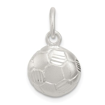 Sterling Silver Diamond Cut Soccer Ball Charm