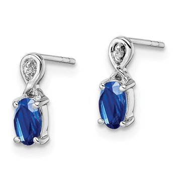 Sterling Silver Rhodium Plated Diamond & Sapphire Oval Post Earrings
