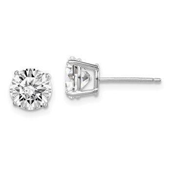 Sterling Silver Rhodium-plated Round CZ 7mm Post Earrings
