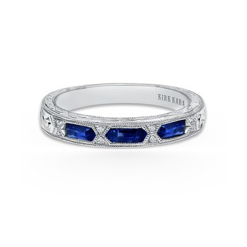 Deco Blue Sapphire Diamond Wedding Band