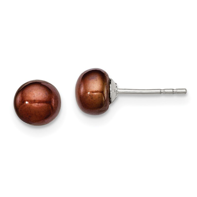 Quality Gold Sterling Silver Rh-plated 5-6mm Brown FW Cultured Button Pearl Stud Earring