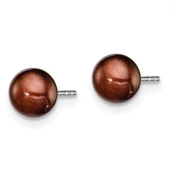 Sterling Silver Rh-plated 5-6mm Brown FW Cultured Button Pearl Stud Earring