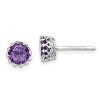 Sterling Silver Rhodium-plated 6mm Polished Amethyst Post Earrings
