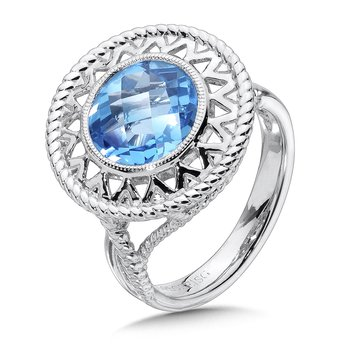Sterling Silver Blue Topaz Cairo Ring