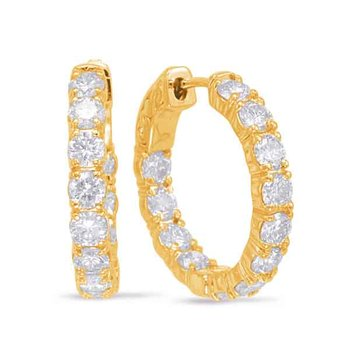 Yellow Gold Hoop Earring- 4 Prongs
