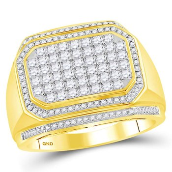 14kt Yellow Gold Mens Round Diamond Octagon Cluster Ring 1-3/4 Cttw