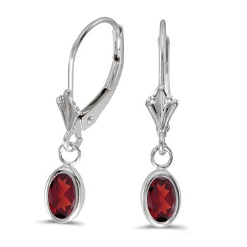 14k White Gold Oval Garnet Bezel Lever-back Earrings