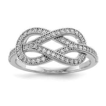 Sterling Silver Brilliant Embers Rhodium-plated CZ Love Knot Ring