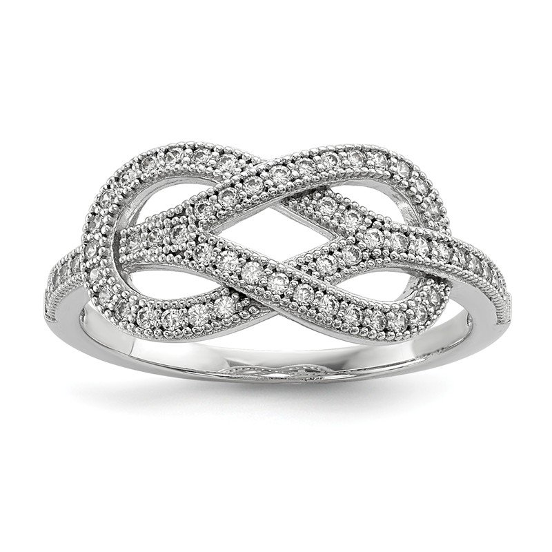Quality Gold SS Rhodium-Plated CZ Brilliant Embers Love Knot Ring