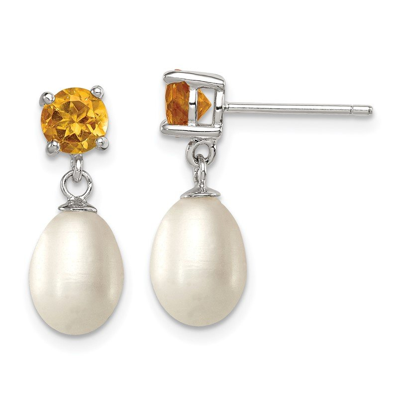 Quality Gold Sterling Silver RH Citrine 7-8mm FW Cultured Pearl Teardrop Earrings