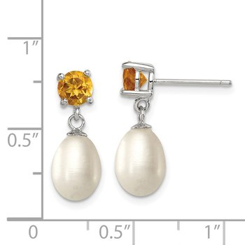 Sterling Silver RH Citrine 7-8mm FW Cultured Pearl Teardrop Earrings