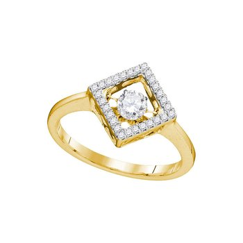 14kt Yellow Gold Womens Round Diamond Moving Twinkle Solitaire Diagonal Square Ring 1/5 Cttw