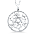 Essentials 10K White Gold 1/2 Ct Diamond Circle Pendant with Chain