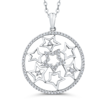 10K White Gold 1/2 Ct Diamond Circle Pendant with Chain