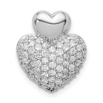 Sterling Silver Rhodium-plated CZ Double Heart Slide