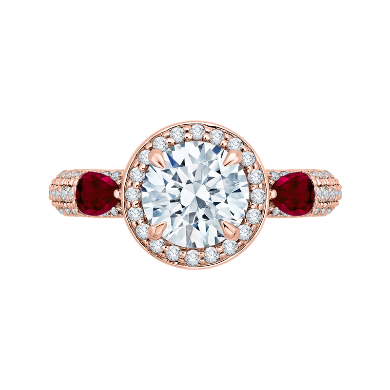 Carizza Round Diamond and Ruby Engagement Ring In 14K Rose Gold (Semi-Mount)