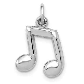 14K White Gold Polished Musical Notes Charm