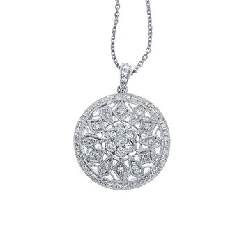 14K White Gold .59 Ct Diamond Disc Pendant